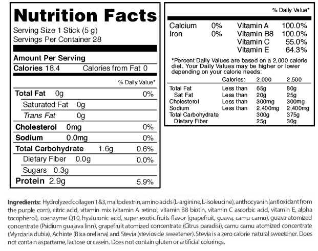 fuxion beauty nutritional info