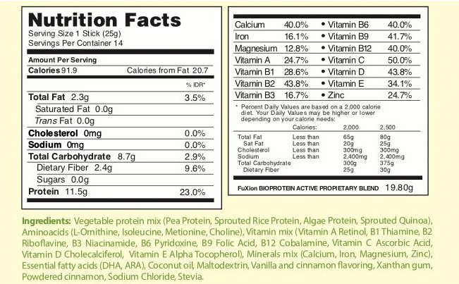 fuxion biopro x active nutritional info