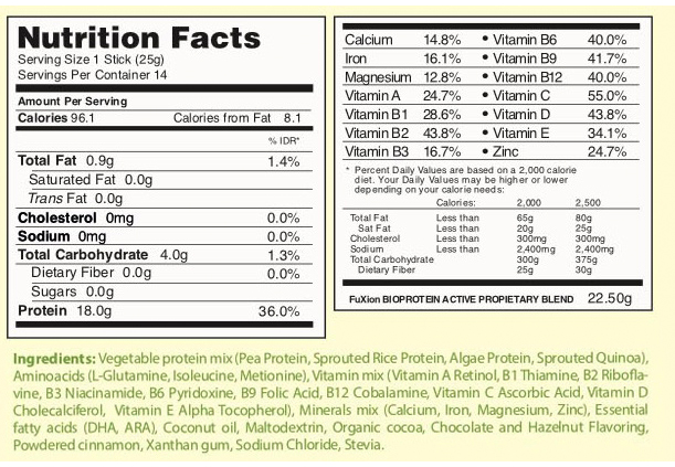 fuxion biopro x active sport nutritional info