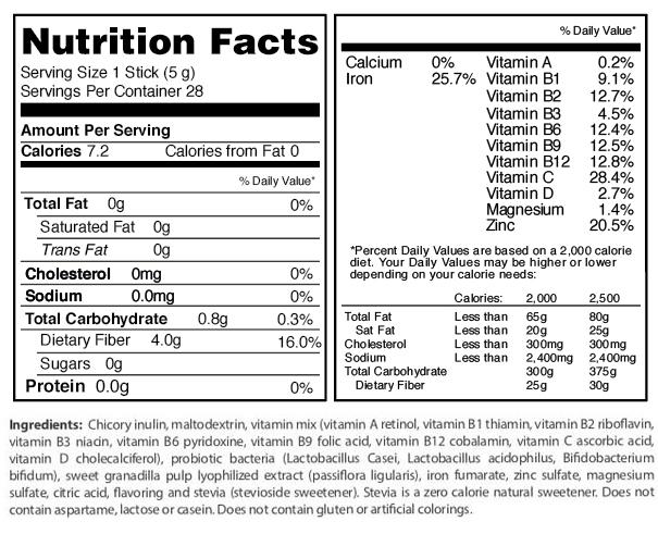 fuxion floraliv nutritional info